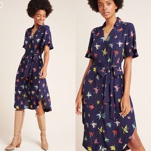 NWT Maeve Flutterby Butterfly Shirt Dress Midi M